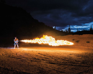 Shooting an X15 flamethrower