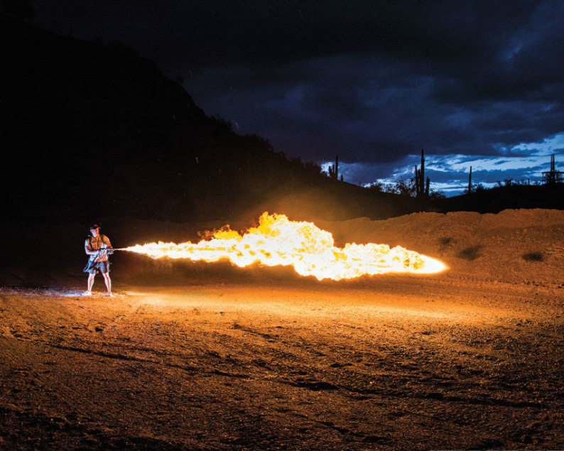 Shooting a X15 flamethrower
